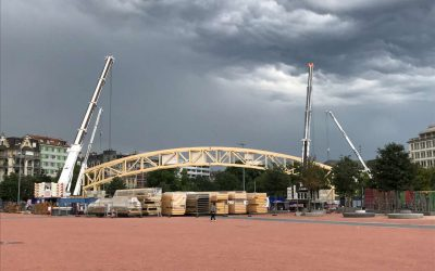 Construction du « Théâtre Ephémère » à Plainpalais : prouesse technique pour une 1ère mondiale
